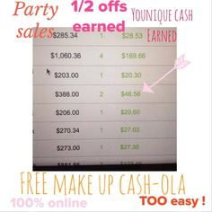 When I keep saying-- get it FREE -- I mean it. Here is a screen shot of parties recently. You will see the party total sales, 1/2 offs earned and the FREE Younique Cash, all for the hostess! 100% online and lasts for 3 days. Easy peasy! Special offer for today only - host an online mascara party and get your 3D Fiber Lash Mascara ABSOLUTELY FREE! Message me for details. www.youniquebywendy.com  #makeup #lashes #lashcrack #online #party #mlm #cosmetics #free #mascara #easy #sales #home