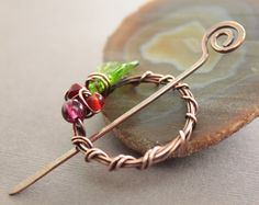 Christmas Wreath shawl pin or scarf pin in penannular shape with red beads and green leaf