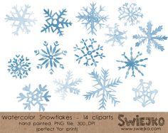 Navidad Clipart copos de nieve acuarelas por SwiejkoForPrint