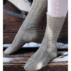 This intricate pair is knit toward the toe, beginning with a scalloped edge.Mini cables crown the cuff and meander down the front. Other than the slip-stitch heel, the rest is worked in good old stockinette. Crochet Socks, Knit Mittens, Knitting Socks, Hand Knitting, Knit Crochet, Knit Socks, Knitting Stitches, Knitting Patterns, Knitting Ideas