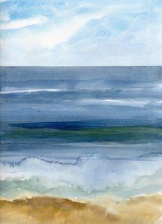 Caroline Gold Shoreline Keilrahmen-Bild Leinwand Meer Küste Horizont Wolken