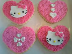 Hello Kitty cookies - heart shaped covered in fondant by Yummy Yaya Sweets and Treats Hello Kitty Cookies, Rilakkuma, Kitty Kitty, Sanrio, Heart Shapes, Fondant, Sweets, Friends, Desserts