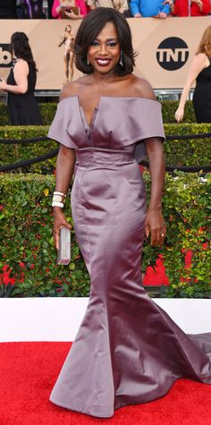 InStyle Fashion News Director Eric Wilson's Top 10 Best Dressed at the 2016 SAG Awards - Viola Davis in Zac Posen  - from InStyle.com