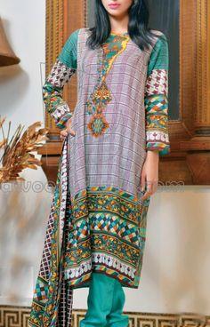 Buy Green Printed Cotton Lawn Salwar Kameez by Harma Classic Lawn Vol. 1, 2015.