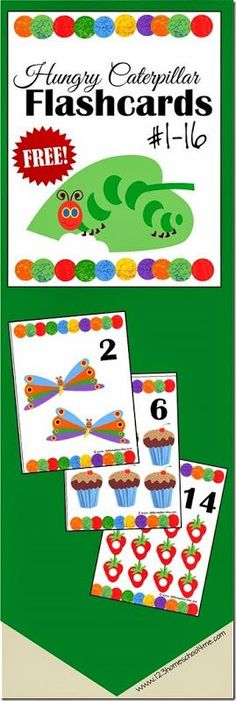 FREE Hungry Caterpillar Number Flashcards - kids will have fun practicing counting or playing number math games with these free printable hungry caterpillar themed Very Hungry Caterpillar Printables, Hungry Caterpillar Classroom, Caterpillar Preschool, Preschool Math Games, Free Preschool, Preschool Kindergarten, Toddler Preschool, Sequencing Activities, Maths