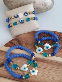 Etsy Jewelry, Handmade Jewelry, Blue Bracelets, Fashion Accessories, Fashion Jewelry, Evil Eye Bracelet, Badass Style, Pinterest Fashion, Sell On Etsy