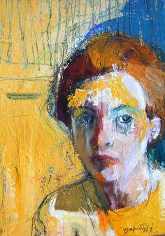 portrait with yellow - Fotini Hamidieli Figure Painting, Painting & Drawing, Greece Painting, Figurative Kunst, Famous Artwork, Portrait Art, Portraits, Collage, Art Programs