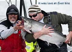It was love at first bite. Ecstatic Peregrine Lodge guest kisses Chinook salmon after an exhilarating battle.