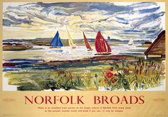 Norfolk Broads Vintage Travel Poster : [Norfolk Broads Sailing]