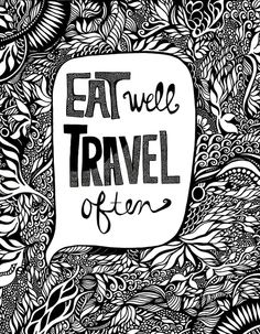 EAT WELL Travel Often Art Print 11x14 by jodypham on Etsy, $21.00