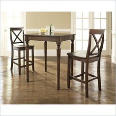 Crosley Furniture 3 Piece Pub Dining Set with Turned Leg and X-Back Stools in Vintage Mahogany Finish - KD320009MA - Lowest price online on all Crosley Furniture 3 Piece Pub Dining Set with Turned Leg and X-Back Stools in Vintage Mahogany Finish - KD320009MA at Cymax