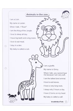 Zoo Animals Worksheet - This worksheet is designed to teach the child about zoo animals. The worksheet comes with information on zoo animals and a variety of activities based on art and craft, reading, writing and counting. Materials are provided for each craft activity.