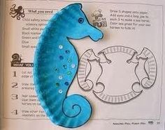 Letter S for Seahorse, Blue seahorse made from a paper plate