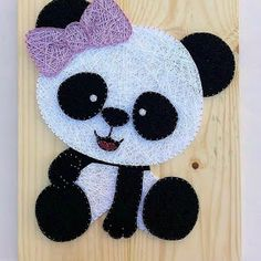 The 10 Best Home Decor. Have you ever seen such a sweet panda? How about decorating your baby& room with this lovely panda? Ideas for home decor. String Wall Art, Nail String Art, String Crafts, Yarn Crafts, Diy Arts And Crafts, Creative Crafts, Crafts To Make, Decoration Creche, String Art Patterns