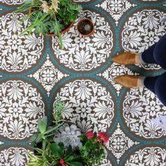 DIY cement floor using Cutting Edge Stencils tile floor patterns
