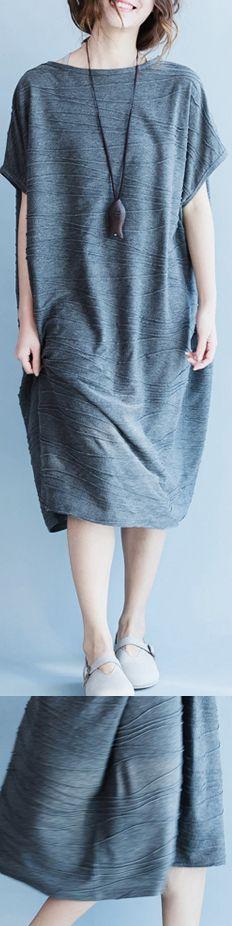 women-gray-cotton-polyester-dresses-oversize-o-neck-cotton-dresses