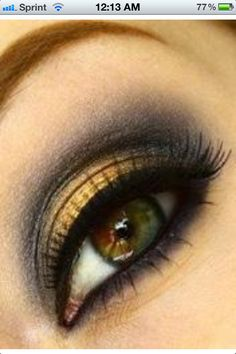 Eye makeup for hazel eyes. My favorite yellow/gold. Boom!
