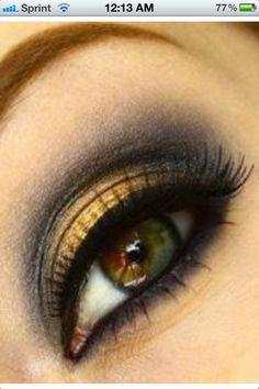 Eye makeup for hazel eyes. My favorite yellow/gold. Boom!