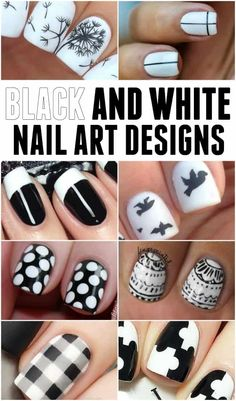 Black White Nail Designs | Today's Creative Ideas Black And White Nail Designs, Black And White Nail Art, Black Nails, Nail Polish Trends, Nail Polishes, Cute Nail Art Designs, Chic Nails, Geometric Nail, Accent Nails