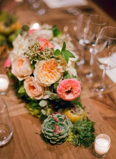 lush centerpieces filled with garden roses and succulents Photography by Bryce Covey Photography / brycecoveyphotography.com, Floral Design by Poppies and Posies / poppiesandposies.com