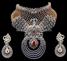 Diamond Necklaces : Tremendous Diamond Set by Kothari Jewelry. - Buy Me Diamond Bling Bling, Diamond Necklace Set, Diamond Jewellery, Jewellery Sketches, Necklace Designs, Luxury Jewelry, Beautiful Necklaces, Indian Jewelry, Wedding Jewelry