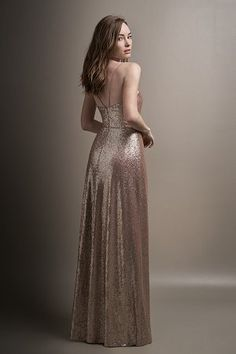 413d878f2a1b L194008 Long V-neck Sequin Bridesmaid Dress with Slit