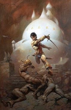 "1985 Full Color Plate /""Darkness at Times Edge/"" by Frank Frazetta Fantastic GGA"