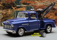 1:32 KINSMART 1955 CHEVY 3100 STEPSIDE TOW TRUCK (BLUE) Perfect for Diorama use #Kinsmart #Chevrolet