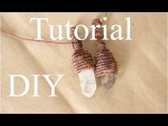 tutorial collar de cuarzo en macrame | engarce de cuarzo | wrap quarz - YouTube