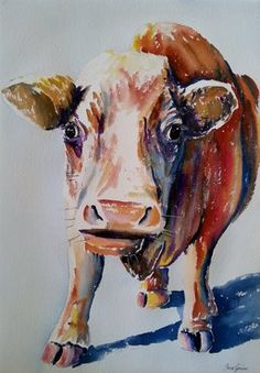 The cow who ate all the Raspberries Watercolour by Jane Guise Watercolour Paintings, Watercolor, Raspberries, Cow, Moose Art, My Arts, Artist, Artwork, Animals