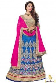 Navratri Special Blue Pink Silk Designer Lehenga Choli Online