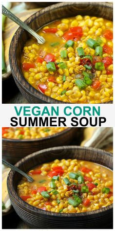 Easy Vegan Summer Corn Soup made with just 8 easy ingredients and ready in 30 minutes! It is so light, yet really filling and has incredible smoky and pepper flavors! #vegan #summer #corn #soup Vegan Soups, Vegan Dishes, Vegan Food, Vegan Meals, Vegetarian Food, Gout Recipes, Vegan Grilling, Grilling Recipes, Corn Soup
