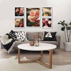 Composição de Quadros/posters Florais com 05 itens