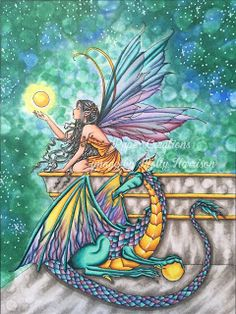 Molly Harrison: Dragon and Fairy colored with copic markers: Kit and Clowder February 2016 Create and Learn Class
