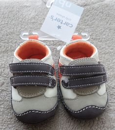 Carter's Boys Casual Medium Shoes for Babies Crib Shoes, Baby Shoes, Baby Boy Accessories, 6 Months, Infant, Orange, Gray, Boys, Sneakers