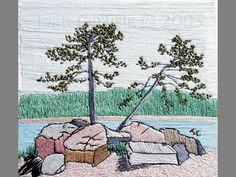 "Artist: Joan Carlisle / ""Pine Point - Sewing and embroidery"" Deep River,ON"