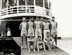 "1910. ""Columbia varsity eight-oared crew team at Poughkeepsie boathouse."""