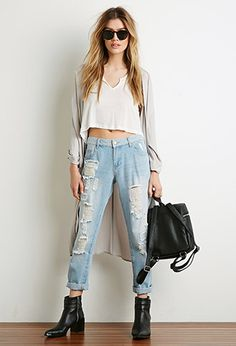 Distressed Boyfriend Jeans | Forever 21 | #f21contemporary