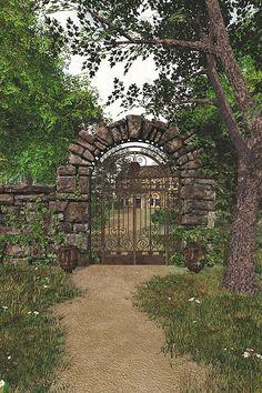Rustic stone and iron gate Herb Garden Planter, Hidden Garden, Fence Gate, Fencing, Metal Garden Art, Entrance Gates, Secret Places, Garden Gates, Garden Beds