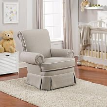 Best Chairs Victoria Upholstered Swivel Glider Taupe/Linen