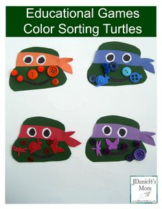 Educational Games- Color Sorting Turtles - New Teachers - Preschool Learning Activities, Color Activities, Learning Games, In Kindergarten, Preschool Activities, Kids Learning, Preschool Colors, Tot School, New Teachers