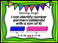 Learning Target Poster  Ready Math First Grade - Lesson 9 - Number Partners for 10