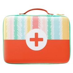 """Oh Joy Striped First Aid Bag / these make perfect beading bags!  They hold 15x 6"""" tubes of seed beads.  Pockets for needles, scissors and other tools.  Large zipper pocket holds pattern sheets/notes as large as 5x7"""", or 5.5x8.5"""" just set inside.  Cut a 9x12"""" bead mat in half for one or two layers to work on.  ;)"""