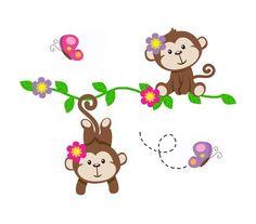 Your place to buy and sell all things handmade Monkey Nursery, Safari Nursery, Baby Nursery Decor, Nursery Wall Art, Childrens Wall Decals, Childrens Bedroom, Monkey Girl, Clipart Baby, Baby Clip Art