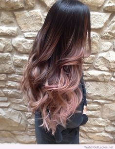 beautiful long rose gold balayage