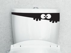 Toilet+Monster+PeekABoo++Decal+por+WallJems+en+Etsy,+$12.99