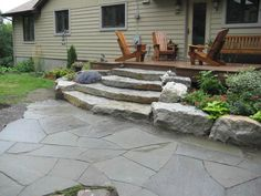Stone Edging, Stone Deck, Stone Stairs, Deck Stairs, Rock Wall Gardens, Rock Steps, Outdoor Projects, Outdoor Decor, Concrete Steps