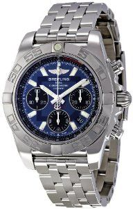 Breitling Men's AB014012/C830SS Chronomat 41 Blue Dial Watch Breitling. $6725.00. Durable sapphire crystal protects watch from scratches,. Case diameter: 41 mm. Blue dial watch. Mechanical movement. Water-resistant to 300 M (100 feet). Save 25% Off!