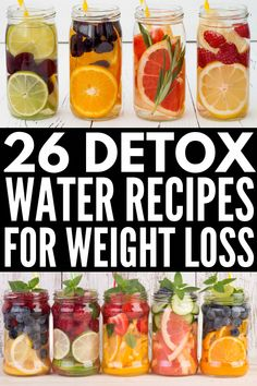 These water detox recipes help with digestion, bloating, and weight loss for that flat tummy you desire, and they help fight acne and blemishes too boot! Weight Loss Meals, Weight Loss Drinks, Losing Weight, Fat Flush Water, Bebidas Detox, Full Body Detox, Natural Detox Drinks, Lemon Diet, Infused Water Recipes