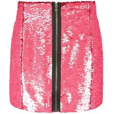 Markus Lupfer Ashley Holographic Sequin Skirt ($110) ❤ liked on Polyvore featuring skirts, mini skirts, pink, red skirts, red mini skirt, embroidered skirt, pink mini skirt and summer skirts